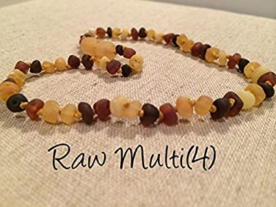 Raw Unpolished Baltic Amber Teething Necklace for Babies (Unisex) (Large beads Honey Multi Cherry Black Red Milk White Butter Yellow Cognac Brown Lemon) - Baby, Infant, and Toddlers will all benefit. Polished Anti Flammatory, Drooling & Teething Pain Redu