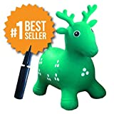 Inflatable Hopper - Rated #1 and Cutest Bouncy Seat for kids on Amazon. Ruffio the Animal Deer Comes with a Free Bonus Pump. Safer Than Childrens Hopping Bouncer Balls - Made with USA Eco-Friendly Materials. 100% Lifetime Money-back Guarantee, Green