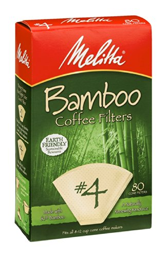 Melitta Bamboo Coffee Filters, #4, 80-Count Boxes (Pack Of 6) front-64231