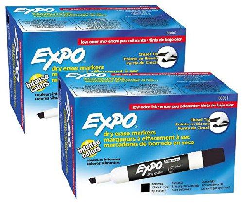 Expo Low Odor Chisel Tip Dry Erase Markers, Black, (80001) (2 Dozen)