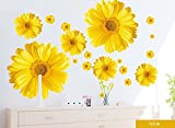 Set of 9 Yellow Chrysanthemums Daisy Flowers Wall Sticker Decal Home Decor for Living Bed Room Study TV Wall thumbnail