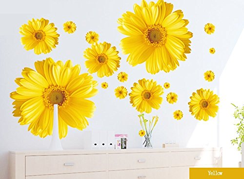 Set of 9 Yellow Chrysanthemums Daisy Flowers Wall Sticker Decal Home Decor for Living Bed Room Study TV Wall image