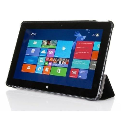 【ShineZone】Dell Venue 11 Pro 専用保護ケース 超薄型 高級PUレザー・三つ折・スタンド機能 ( Dell venue 11 pro Atom CPU Version タブレットだけ適用サイズ:297.7×176.8×10.2mm;Dell venue 11 pro i5 CPU Version タブレットに不適用です)(ブラック)