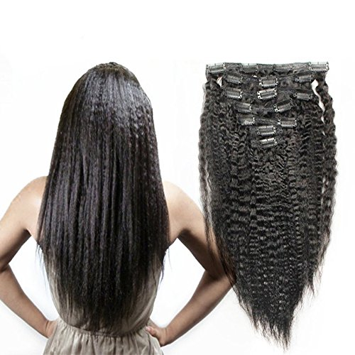 Full-Shine-12-Kinky-Straight-Clip-In-Hair-Extensions-1B-Natural-Black-100-Brazilian-Human-Hair-Weaves-New-Trend-Yaki-Curl-Hair