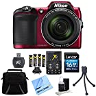 Nikon COOLPIX L840 16MP 38x Opt Zoom Digital Camera 16GB Accessory Bundle - Red