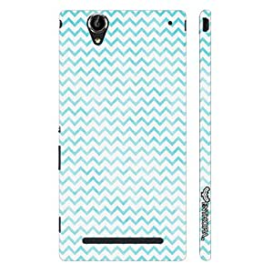 Sony Xperia T2 CHEVRON BLUE N WHITE designer mobile hard shell case by Enthopia