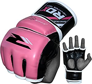 RDX Maya Hide Leather Women's MMA Grappling Gloves UFC Cage Fighting Sparring Glove Training