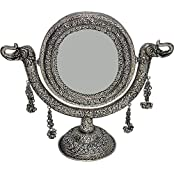 Rajasthan Craft Art Aluminum Antique Oval Carving Stand Mirror (33.2 Cm X 28 Cm X 33.2 Cm, Silver)
