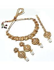 Pearl Necklace Set Cz Diamond Look Gemstone Indian Designer Stylish Latest One Gram Gold Plated Jewelry & Tika...