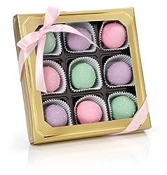 Sweet Pastel Belgian Truffle Cake Bons- Gold Gift Box of 9 (Chocolate Fudge)
