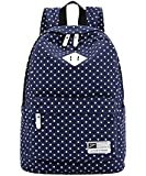 "Canvas Backpack Travel School Shoulder Bag Dot Printing Teenage Girl's Bags for 14""-15"" Laptop PC A4 Magazine iPad 3/4/Air"
