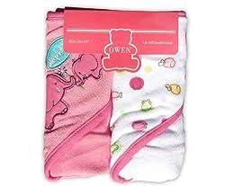 Owen Knit Hooded Towel, 2 Piece (Pink)