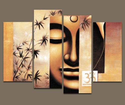 Wieco Art - Large Modern 4 Panels Stretched and Framed Giclee Canvas Prints Artwork Buddha Abstract Oil Paintings Reproduction on Canvas Wall Art Ready to Hang for Living Room Home Decorations L