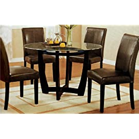 5pc Glass Top Cuppoccino Finish Dining Set