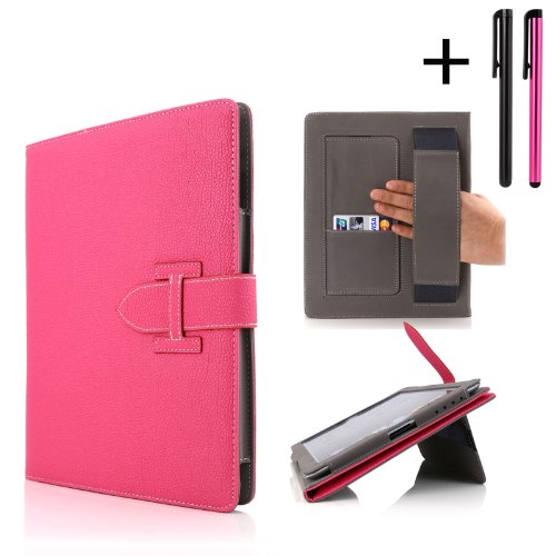 Cellular360 Classic Hand Grip / Stand Case For iPad Air / Apple iPad 5 - With Credit Card Slot and Sleep/Wake Function & Two Free Stylus (iPad Air Classic -Hot Pink)