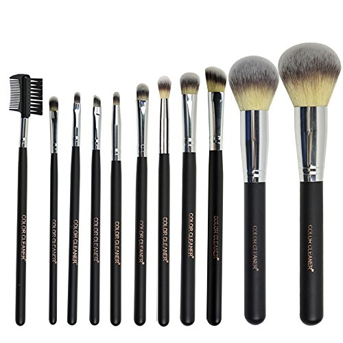 COLOR CLEANER Synthetic Hair Makeup Brush Set, 11 Pieces (Cargo Lip Liner compare prices)