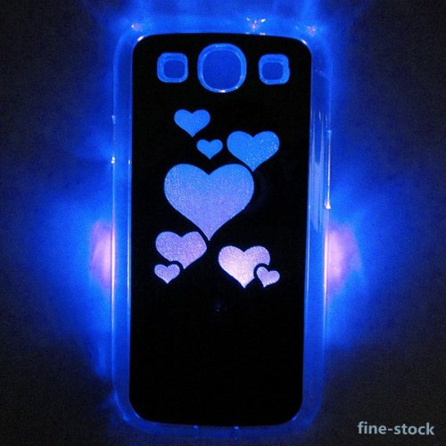 Black Love Heart Sense Flash Light Led Lcd Color Changing Hard Case Cover For Samsung Galaxy S3 Siii I9300 ,Hard Plastic Shell Back Skin