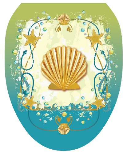 Toilet Tattoos TT-1017-O Shell Game Decorative Applique For Toilet Lid, Elongated