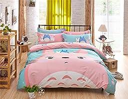 100% Cotton Cartoon Totoro Printing Kids Bedding Sets ,(Include 1PC Duvet Cover,1PC Flat Bed Sheet,2PC Pillowcase),Totoro Design Children Duvet Bed Sheet,Twin Size