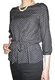 D&L co.ltd(ディーアンドエル) ドット 七分袖 ブラウス 大きいサイズ あり ブラック