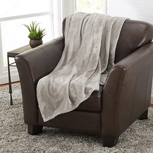 Darcy Collection Ultra Velvet Plush Super Soft Blanket. Lightweight Fleece Throw Blanket in Solid Colors. By Home Fashion Designs. (Stone Grey)
