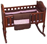 Baby Doll Bedding Cocoa Dots Cradle Set, Brown/Pink