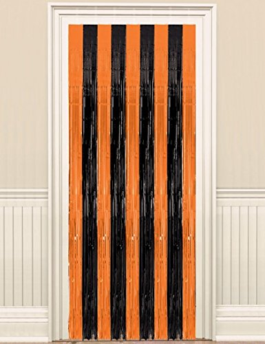 Amscan Mens Black and Orange Halloween Door Curtain Black/orange Medium