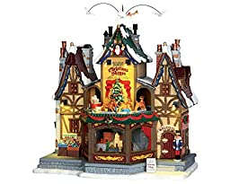 Lemax Village Collection Holiday Hamlet Christmas Shoppe with Adapter # 55026