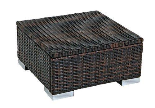 Hocker Beistelltisch SORRENTO 50x50cm, Stahl + Polyrattan braun online kaufen