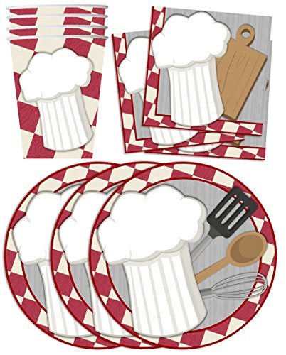 Chef-Cooking-Birthday-Party-Supplies-Set-Plates-Napkins-Cups-Tableware-Kit-for-16