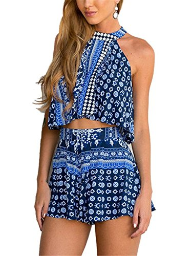 Tailloday Women Sexy Bohemian Tile Print Crop Top With High Waist Shorts (80s Outfits For Sale)