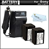 2 Pack Battery And Charger Kit For Sony DEV-3, Sony DEV-5 Digital Recording Binoculars Includes 2 Extended Replacement (2300Mah) NP-FV70 Batteries + Ac/Dc Rapid Travel Charger + MicroFiber Cleaning Cloth