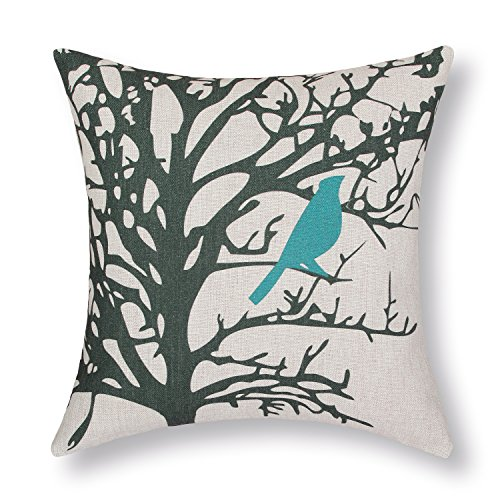"Euphoria Home Decorative Cushion Covers Pillows Shell Cotton Linen Blend Vintage Shadow Teal Bird Black Tree 18"" X 18"" front-461028"