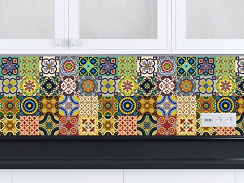 Backsplash stickers pour carrelage 24 pc de talavera - Autocollant carrelage cuisine ...