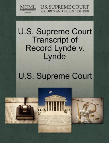 U.S. Supreme Court Transcript of Record Lynde v. Lynde