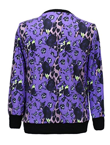 Women New Adventure Time Purple Leopard Princess Neck Hedging Sweater