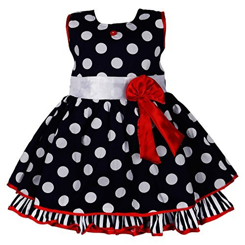 Wish Karo Polka Dots Cotton Party Wear Frock Girls Dress DN2125