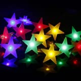 Solar Powered 4.8m 20 Led Star String Fairy Lights for Outdoor,Patio,Garden,Fence,Wedding and Christmas (Multi color)