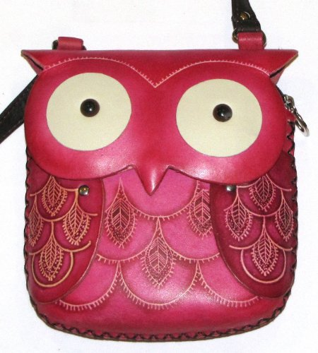 Hoot Owl Round Eye Purse - All Leather Hand Worked