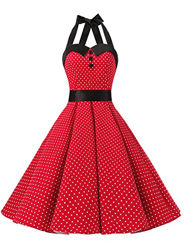Dressystar Vintage Polka Dot Retro Cocktail Prom Dresses 50's 60's Rockabilly Bandage Red XS
