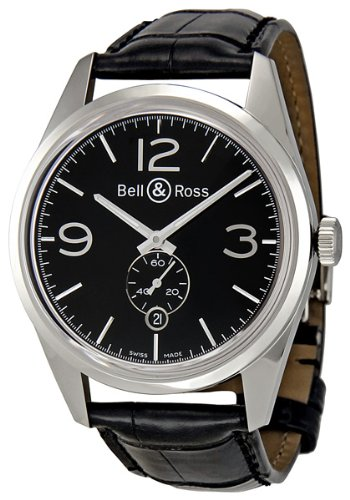 Bell & Ross Men's BR123-OFFICER BLACK Vintage Black Dial and Strap Watch