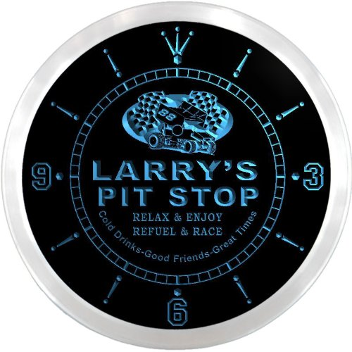 Ncpu0029-B Larry'S Pit Stop Car Race Room Pub Led Neon Sign Wall Clock