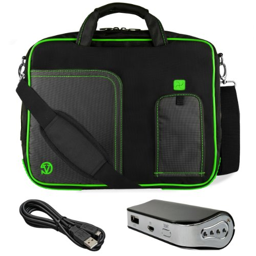 "Green Vg Pindar Edition Messenger Bag Carrying Case For Barnes & Noble Nook Hd+ Slate 9"" Tablet (16Gb 32Gb) + Universal Power Bank / Charger With Micro Usb Recharge Cable front-1062787"