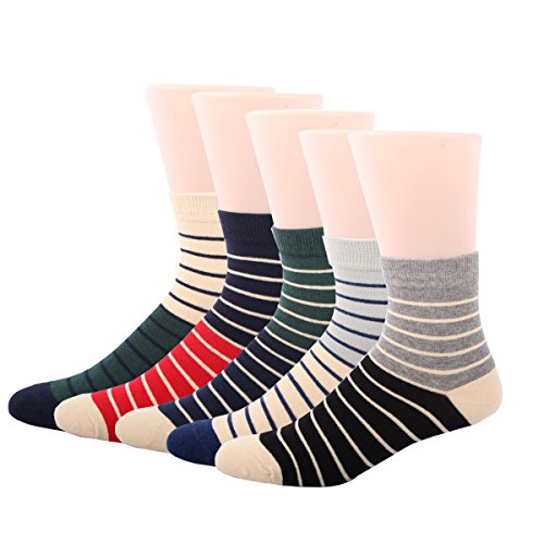 RioRiva Men's Dress Socks Mid Calf Crew Tube Socks for Business Grey Black Navy,BSK03 - Pack of 5,US Men Size 6-10/EU 39-44