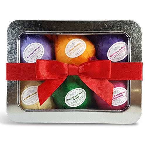 Bath Bombs Gift Set - 6 Ultra Lush Essential Oil Handmade Spa Bomb Fizzies. All Natural, Organic Shea and Cocoa Butter Moisturize Dry Skin. Gifts for Women Made Easy. Relaxation and Stress Relief Is Just One Bathtub Away!