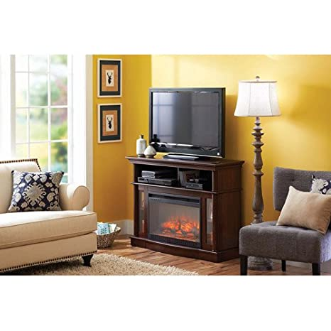 """Media Electric Fireplace Ashwood Road, Brown, For TVs up to 45"""" & 100-pounds"""