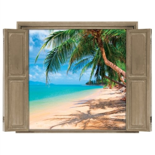 Palm tree beach wall murals for Beach window mural