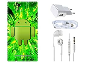 Spygen SONY XPERIA C3 Case Combo of Premium Quality Designer Printed 3D Lightweight Slim Matte Finish Hard Case Back Cover + Charger Adapter + High Speed Data Cable + Premium Quality Handfree