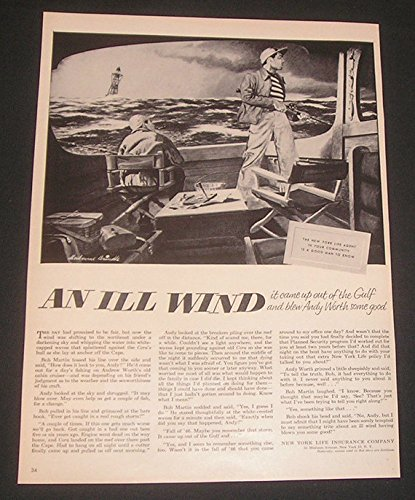 1952-print-ad-new-york-life-insurance-co-art-illustration-ship-in-rough-seas-melbourne-brindle-artis