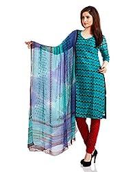Pinkshink Womens Cotton Unstitched Dress Material (Psd02 _Blue)